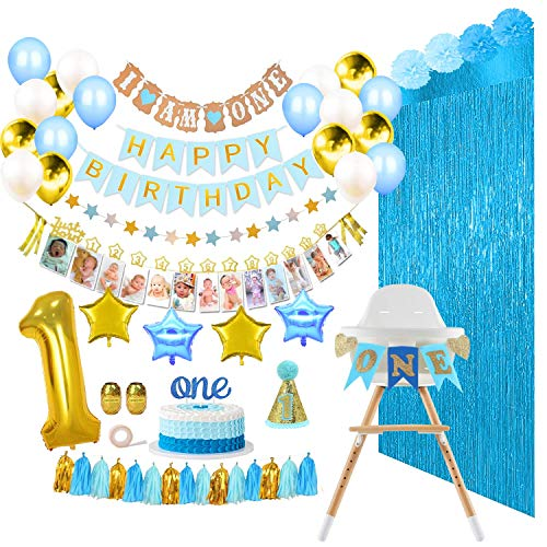 ReignDrop Baby Boy 1st Birthday Decorations Set - First Birthday Party Supplies - Happy Birthday, 1-12 Month Photo, and I am One Banner - High Chair Decoration - With Poms, Balloons, Backdrops, Hat