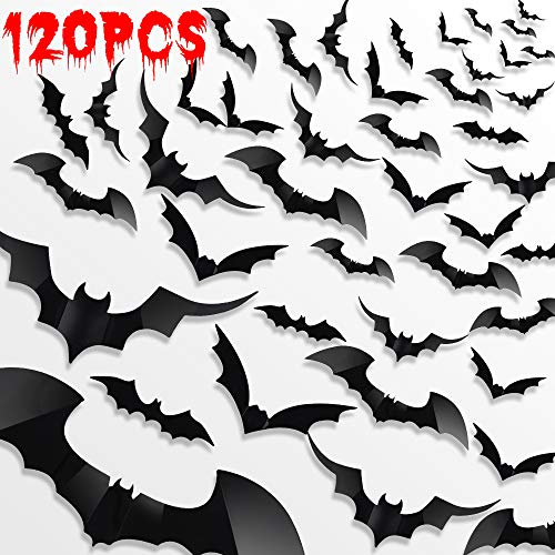 LUDILO 120pcs Halloween Bats Stickers Halloween Decals Halloween Wall Decorations Wall Stickers 3D Scary Bats Wall Decals for Indoor Windows Doors Walls Decor Halloween Party Supplies (Black)