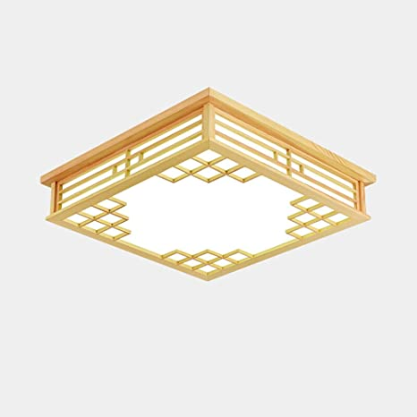 Iluminación de lámparas de techo de madera maciza japonesa ...
