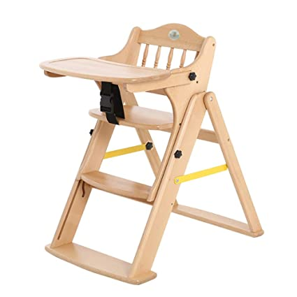 High Chairs Baby Wood Folding Clean Child Dining Chair Wheels (Wood Color)