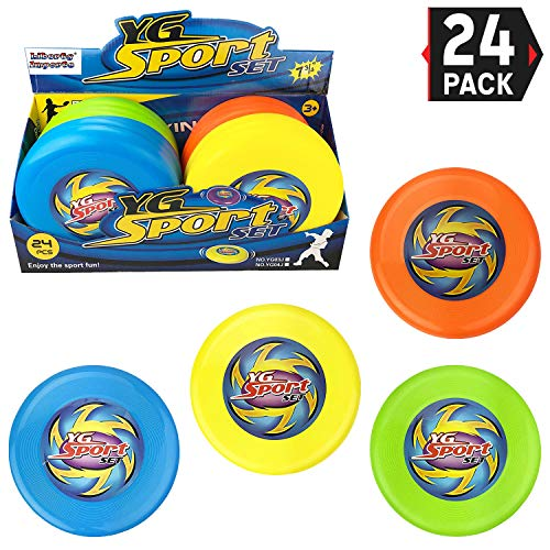 Liberty Imports Value Bundle - 24 Pcs Outdoor Flying Sports Discs, Plastic Toss Game Toy for Kids and Adults (4 Colors)]()