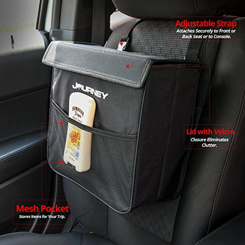 Car Garbage Can With Lid Large Black Leakproof Weighted