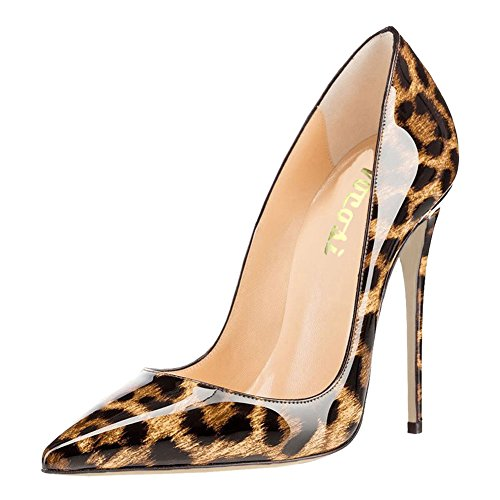 VOCOSI Women's High Heels,Pointed Toe Patent Pumps Shoes for Ladies Party Dress 4.7 inches P-Leopard 7.5 US (Snake Dress Print)