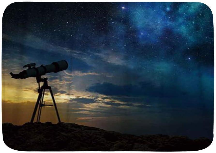 Amknu Alfombrillas para baño, Vía Láctea al Amanecer y Silueta de un telescopio,con Respaldo Antideslizante,29.5