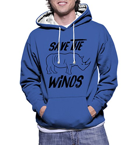 HAASE UNLIMITED Men's Save The Winos Two Tone Hoodie Sweatshirt (Royal Blue/White Strings, 3X-Large) ()