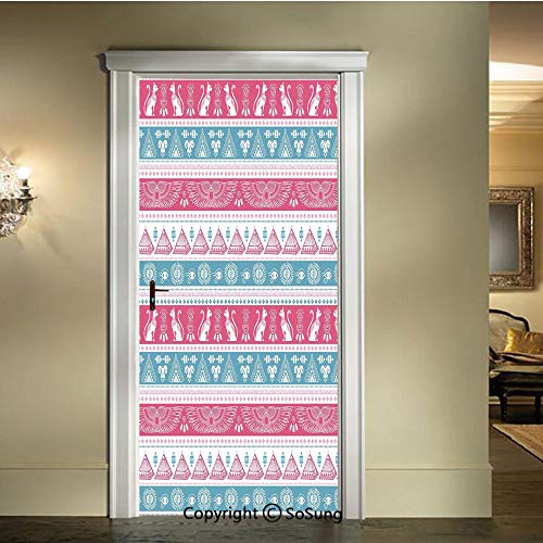 Applique Sticker,Ancient-Egyptian-Icons-Cats-Wings-Pyramids-Triangles-Historical-Pattern-Decorative,W30.3xL78.7inch,for Home Decor Self-Adhesive Removable Art Door DecalsPale-Blue-Pink-White