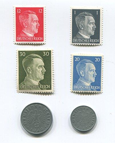 Premium Plus Nazi World War Two WW2 German Third Reich Swastika Coin and Hitler Stamp Set / Collection
