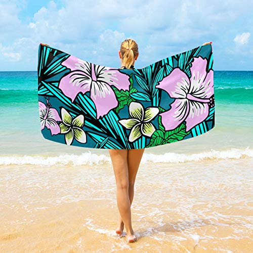 NiYoung Premium Bath Towels Wash Cloths for Home, Hotel, Spa, Pool - Tropical Flowers Hibiscus Towels, Ultra Soft Shower & Bath Towel Extra Large Ultra Absorbent Women's Wrap