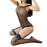 Women's Sexy Lace Sleepwear See-through Lingerie Mesh Lace Underwear Nightwear Bodysuit(Black)