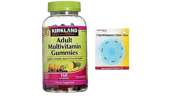 Amazon.com: Kirkland Signature adultos Multi Gummies - ct 320 - 2 pk con gratis 7 días plástico píldora organizadores: Health & Personal Care
