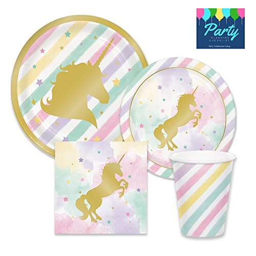 Unicorn Pink & Metallic Gold Sparkle Party Supplies - Tableware for 16 Guests - Plates, Napkins, & Cups (Lunch Accent Gold Plate)