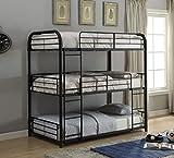 ACME Furniture 37335 Cairo Triple Bunk Bed, Twin, Sandy Black