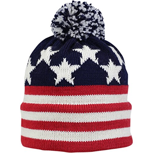 Vermont Originals - Old Glory, American Made Wool Flag Pom Beanie, Red -