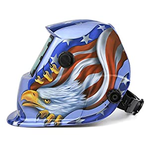 Solar Powered Welding Helmet Auto Darkening Hood with Adjustable Shade Range 4/9-13 for Mig Tig Arc Welder Mask Blue Eagle Design from XUGEL GROUP