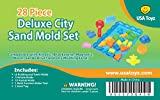 Sand Molds Kit w/ Mess Free Tray (28 pcs) - City Theme Set - Compatible with Kinetic Sand, Sands Alive, Brookstone Sand, Waba Sand, Moon Sand and Other Molding Play Sand Brands - (Sand NOT included)