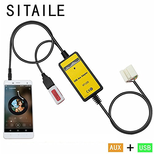 [Aux adapter,SITAILE USB AUX in Adapter Car Stereo Digital Cd Changer 3.5mm Aux interface for Honda Accord 2003-2011 Civic 2006-2010 Element 2003-2011 Fit 2006-2011 S200 2005-2010 MDX 2005-2006 TSX] (S200 Stereo)