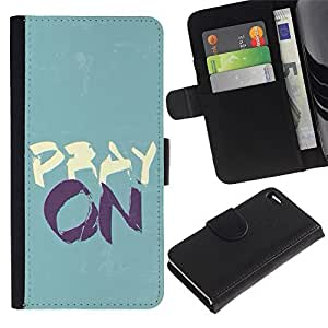 Leather Case Wallet Flip Card Pouch Soft Holder for Apple Iphone 4 / 4S / CECELL Phone case / / BIBLE Pray On /