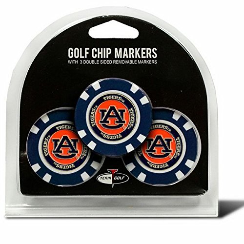 (Set of 3 Auburn Tigers Poker Chips with removable Golf Ball Markers)