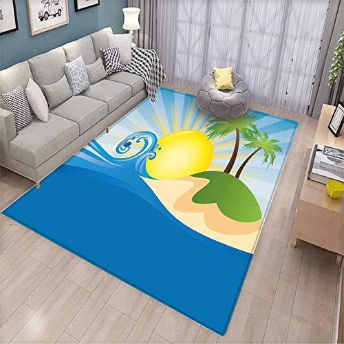 Beach Bath Mat 3D Digital Printing Mat Summer Beach Illustration with Sun Rays Tropical Island Abstract Arrangement Door Mat Increase Blue Yellow (7' Deep Steam Table)