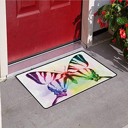 Gloria Johnson Swallowtail Butterfly Universal Door mat Butterfly with Rainbow Colors Fantasy Animal Artistic Dreamy Display Door mat Floor Decoration W23.6 x L35.4 Inch Multicolor