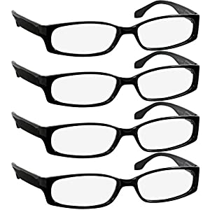 Reading Glasses 1.5 Best 4 Pack Black Readers for Men and Women Always Have a Stylish Look and Crystal Clear Vision When You Need It! Comfort Spring Arms & Dura-Tight Screws