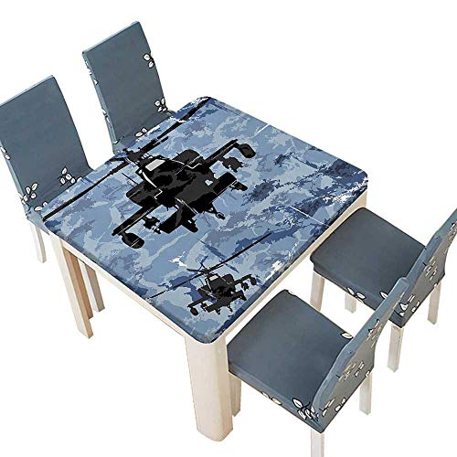 PINAFORE Polyester Tablecloth of Armed Helicopters with Grunge Epic Back Airforce in Battle Blue Black Spillproof Tablecloth 53 x 53 INCH (Elastic Edge)