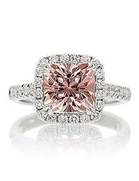 1.8 Carat Cushion Cut Morganite Halo Engagement Ring for Women on 10k White Gold
