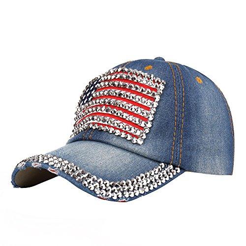 Raylans Adjustable Women Men Bling Rhinestone Denim Baseball Cap Hat (##4) ()