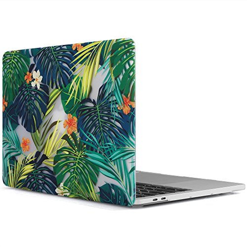 iDOO MacBook Pro 13 Case 2017 & 2016 Release A1706 / A1708, Soft Touch Plastic Hard Case Cover for Newest MacBook Pro 13 inch with/Without Touch Bar - Tropical Palm Leaves