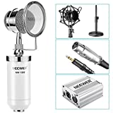 Neewer NW-1500 Desktop Condenser Microphone Kit: Mic (White), 48V Phantom Power Supply(Silver), 3.5mm Male to XLR Female Cable, Mic Stand, Shock Mount, Pop Filter for Broadcast and Sound Recording