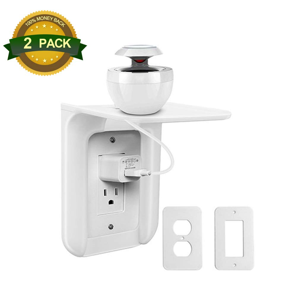 2 Pack Outlet Shelf Power Perch Wall Outlet Organizer or Charging Tra