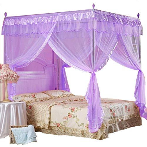 Mengersi Princess 4 Corners Post Bed Curtain Canopy Netting for Girls Boys Kids(Purple, Twin) (Girls Purple Bed Canopy)