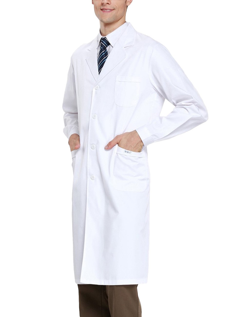 THEE Bata de Laboratorio Blanco Uniforme de Enfermera Sanitaria con Manga Larga Mujer L: Amazon.es: Amazon.es