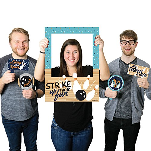 Strike Up the Fun - Bowling - Birthday Party or Baby Shower Photo Booth Picture Frame & Props - Printed on Sturdy Material