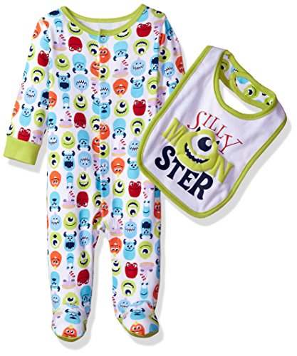 Disney Baby Boys' Monsters Inc Footie Sleeper and Bib Set, Green, 6-9 Months