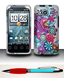 Accessory Factory(TM) Bundle (the item, 2in1 Stylus Point Pen) For HTC Evo Shift 4G (Sprint) Rubberized Design Case Cover Protector - Purple Blue Flowers
