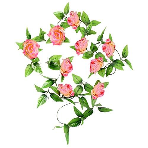 Koolee 1 x 9 Ft Artificial Silk Rose Flower Ivy Vine Leaf Garland Wedding Party Garlands (Hot Pink) (9' Pliers)