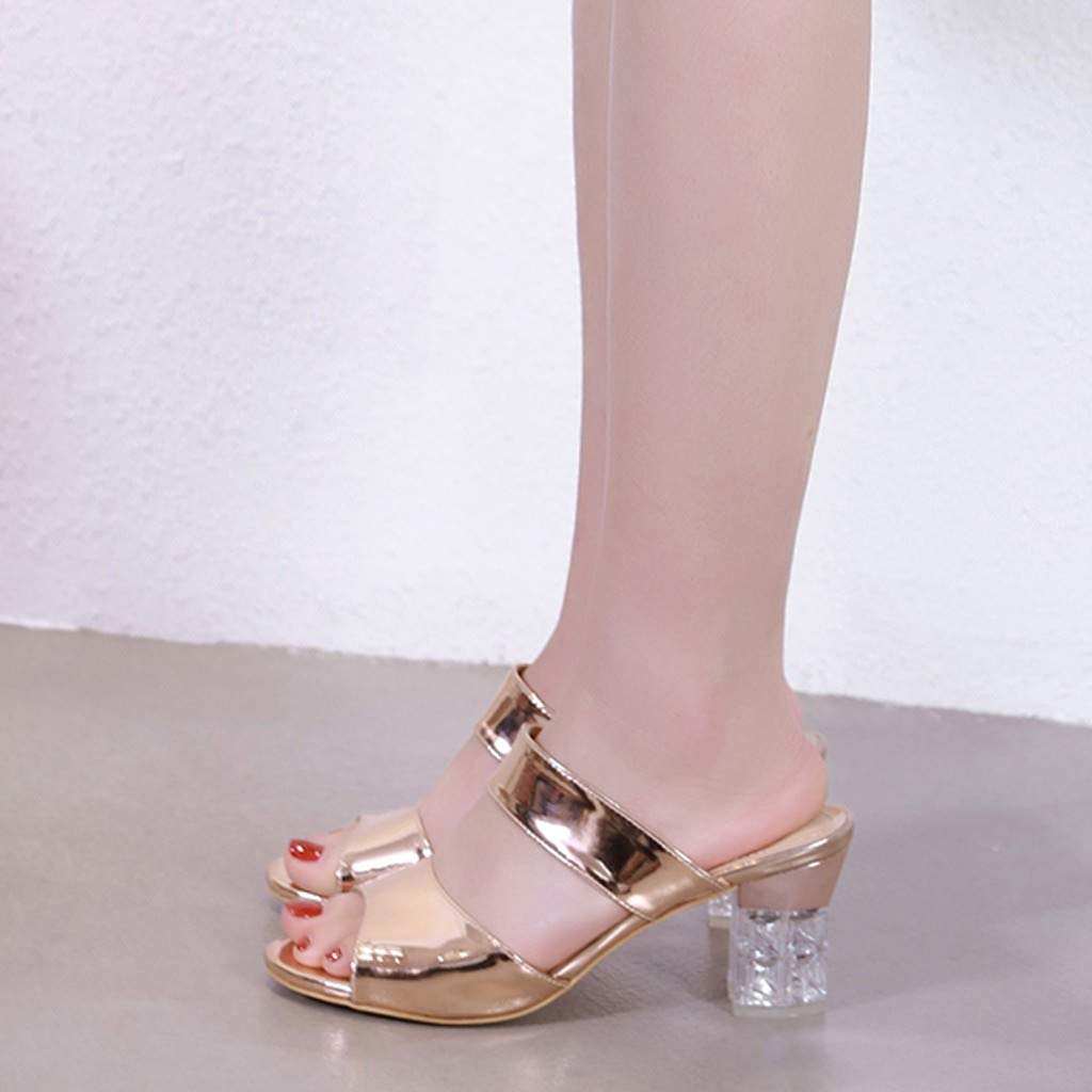 Moonker Women Wedges Slides,Women Summer Slippers Sandals Ladies Girls Casual Wild Two-Strap Crystal Hollow Heel Shoes