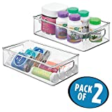 mDesign Stackable Storage Organizer Bin Tray with Built-in Handles - Holds Vitamins, Supplements, Serums, Essential Oils, Medical Supplies, First Aid Supplies - 3'' High - Pack of 2, Clear