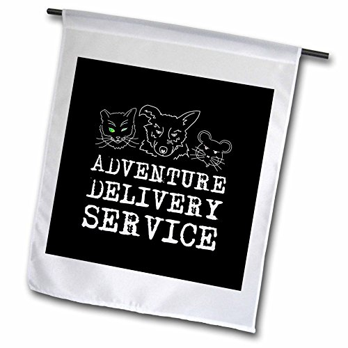 - 3dRose Alexis Design - Funny - Gang of badass cat, dog, mouse on black. Adventure delivery service - 18 x 27 inch Garden Flag (fl_273213_2)