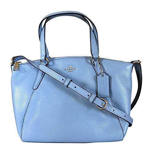 Coach Pebble Leather Mini Kelsey Satchel Crossbody Handbag  Pool