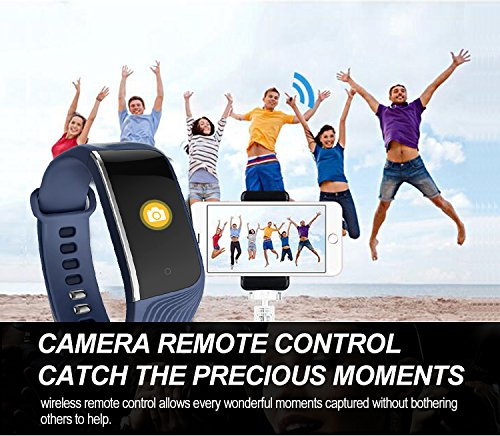 Four Fitness Tracker, La Actividad A Prueba De Agua Tracker Ritmo Cardíaco Tensiómetro, Smart Pulsera Podómetro Reloj Paso Contador De Calorías,Blue: ...