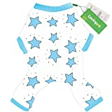 LovinPet Adorable Dog Pajamas Safe Snap Buttons For Small Dog Onesie Pet Pjs with Star Printed (Blue Dog Jumpsuit XXL)