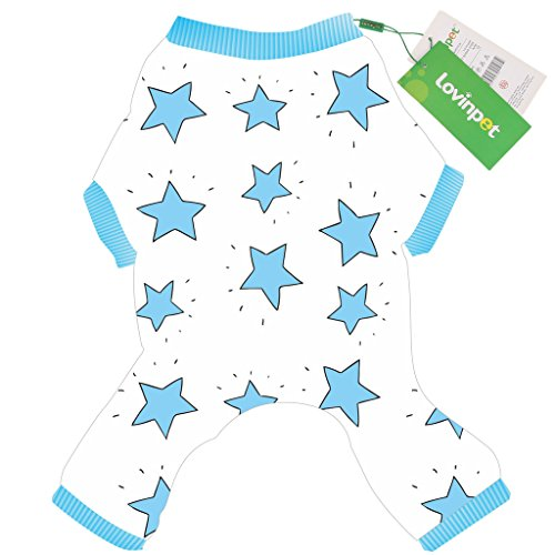 LovinPet Adorable Dog Pajamas Safe Snap Buttons For Small Dog Onesie Pet Pjs with Star Printed (Blue Dog Jumpsuit (Doggy Clothing)