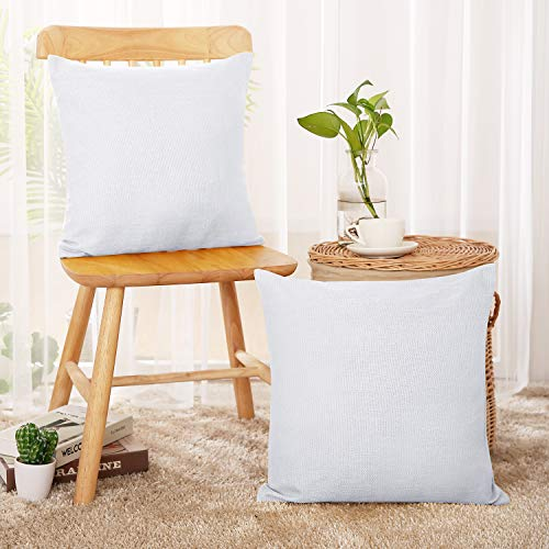 Deconovo Decorative Faux Linen Throw Pillow Case Cushion Cover for Bed 18x18 Inch Off White Set of - Pack Case Bed
