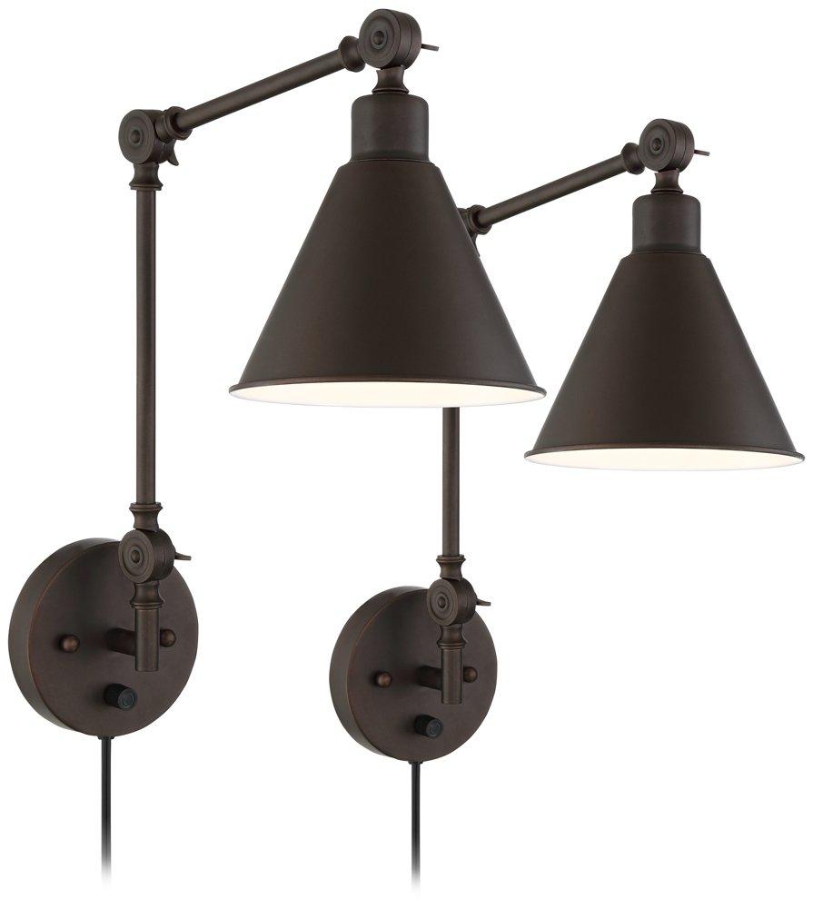 Wray Bronze Metal Plug-In Wall Lamp Set of 2 by 360 Lighting