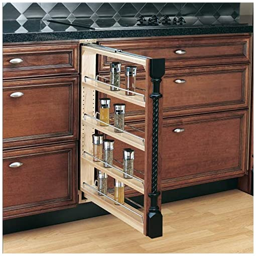 Kitchen Rev-A-Shelf 432-BF-3C 3-Inch Base Cabinet Filler Pullout Kitchen Wooden Spice Rack Holder Shelves for Storage… pull-out organizers