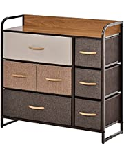 HOMCOM 7-Drawer Dresser, Fabric Chest of Drawers, 3-Tier Storage Organizer for Bedroom Hallway Entryway, Tower Unit with Steel Frame Wooden Top