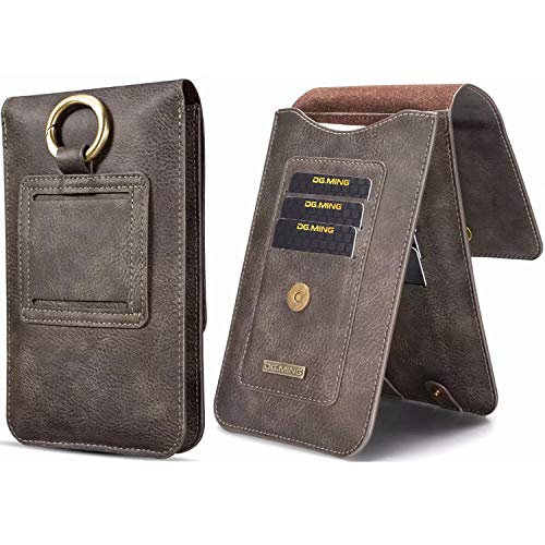 Universal Cellphone Genuine Leather Safe Case, X-FASH Slim Lightweight Horizontal Vertical Waist Belt Pouch Holster with 11 Card Slot 2 Bag for [All of Below 6.5