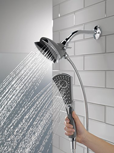 Delta Faucet 4-Spray In2ition 2-in-1 Dual Hand Held Shower Head with Hose, Chrome 58467